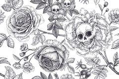 Modello senza cuciture floreale con i simboli del giorno morti Crani, fiori rosa di fioritura e fogliame royalty illustrazione gratis