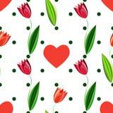 Modello senza cuciture floreale con i tulipani ed i cuori sui precedenti bianchi con i cerchi verdi Fotografia Stock