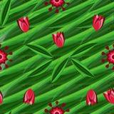 Modello senza cuciture floreale con i tulipani sui precedenti con le foglie verdi e l'ornamento Fotografia Stock