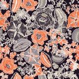 Modello senza cuciture floreale con le foglie, i fiori, le petunie e le margherite astratti illustrazione di stock