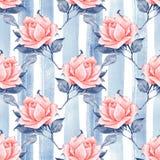Modello senza cuciture floreale con le rose 10 illustrazione vettoriale