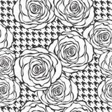 Modello senza cuciture floreale con le rose sul fondo di struttura del tweed Fotografia Stock
