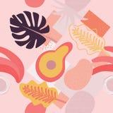 Modello senza cuciture floreale contemporaneo del collage Frutti e piante esotici moderni della giungla La progettazione creativa royalty illustrazione gratis