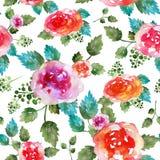 Modello senza cuciture floreale d'annata con i fiori e la foglia rosa Stampa per la carta da parati del tessuto senza fine Acquer Fotografie Stock Libere da Diritti