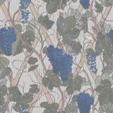 Modello senza cuciture floreale d'annata con le bacche e le foglie dell'uva royalty illustrazione gratis