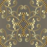 Modello senza cuciture floreale 3d dell'oro astratto Parte posteriore dell'ornamentale di vettore Fotografia Stock