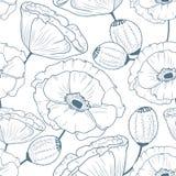 Modello senza cuciture floreale del profilo con i papaveri di scarabocchio Immagine Stock Libera da Diritti