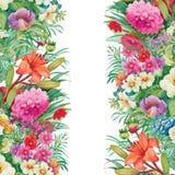 Modello senza cuciture floreale dell'acquerello con le rose ed i Wildflowers Fotografie Stock