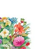 Modello senza cuciture floreale dell'acquerello con le rose ed i Wildflowers Immagine Stock Libera da Diritti
