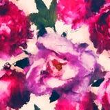 Modello senza cuciture floreale dell'acquerello monocromatico d'annata di arte con Fotografia Stock Libera da Diritti