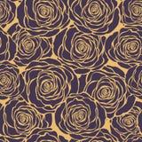 Modello senza cuciture floreale di Art Deco con le rose Mano d delle rose di vettore Fotografia Stock Libera da Diritti