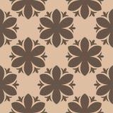 Modello senza cuciture floreale di Brown su fondo beige Fotografia Stock Libera da Diritti