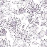 Modello senza cuciture floreale di Lotus Fondo monocromatico disegnato a mano illustrazione vettoriale