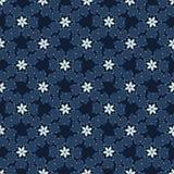Modello senza cuciture floreale di vettore di inverno del blu di indaco di Natale Fiore tirato di Boho illustrazione di stock