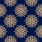Modello senza cuciture floreale dorato su fondo blu Fotografia Stock Libera da Diritti