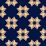 Modello senza cuciture floreale dorato su fondo blu Immagine Stock