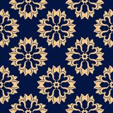 Modello senza cuciture floreale dorato su fondo blu Fotografie Stock Libere da Diritti