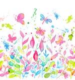 Modello senza cuciture floreale felice e luminoso con i fiori e le foglie disegnati a mano dell'acquerello Immagini Stock