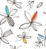 Modello senza cuciture floreale luminoso decorativo Fondo di estate di vettore con i fiori di fantasia Fotografia Stock Libera da Diritti