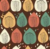 Modello senza cuciture floreale nello stile scandinavo Struttura del tessuto con gli alberi decorativi Fotografia Stock Libera da Diritti