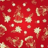 Modello senza cuciture floreale rosso dell'annata Fotografie Stock