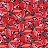 Modello senza cuciture floreale rosso di vettore Immagini Stock