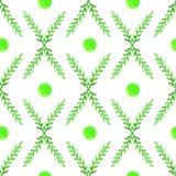 Modello senza cuciture floreale semplice e sveglio Rami e foglie della primavera Disegno Vectorized dell'acquerello Immagine Stock Libera da Diritti