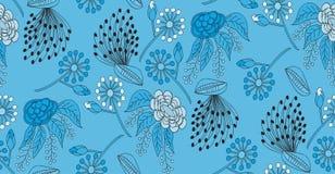 Modello senza cuciture, floreale su fondo blu Fotografie Stock Libere da Diritti