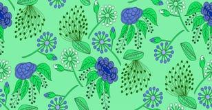 Modello senza cuciture, floreale su fondo verde Immagine Stock Libera da Diritti