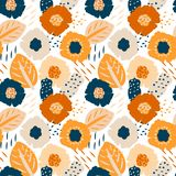 Modello senza cuciture floreale tropicale illustrazione di stock