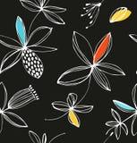 Modello senza cuciture floreale variopinto decorativo Fondo di estate di vettore con i fiori svegli Fotografie Stock Libere da Diritti