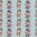 Modello senza cuciture floreale verticale dell'acquerello Mazzo dipinto a mano con l'anemone rosso, bianco, blu, ranunculus, succ Fotografie Stock Libere da Diritti