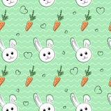 Modello senza cuciture, fondo con i conigli e carote per pasqua ed altre feste illustrazione vettoriale