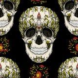Modello senza cuciture, fondo con il cranio dello zucchero e picchiettio floreale royalty illustrazione gratis