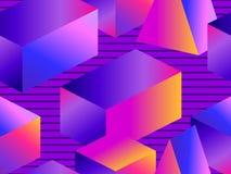 Modello senza cuciture futuristico con le forme geometriche Oggetti isometrici 3d Gradiente viola e blu Retrowave Vettore royalty illustrazione gratis