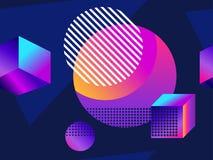Modello senza cuciture futuristico con le forme geometriche Pendenza con i toni porpora forma isometrica 3d Retro fondo di Synthw illustrazione vettoriale