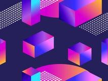 Modello senza cuciture futuristico con le forme geometriche Pendenza con i toni porpora forma isometrica 3d Retro fondo di Synthw illustrazione di stock