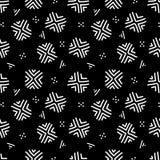 Modello senza cuciture geometrico azteco etnico in bianco e nero, vettore illustrazione vettoriale