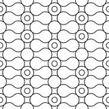 Modello senza cuciture geometrico in bianco e nero con il cerchio e l'onda illustrazione vettoriale