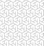 Modello senza cuciture geometrico in bianco e nero con la linea e l'esagono illustrazione di stock