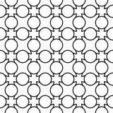 Modello senza cuciture geometrico in bianco e nero con la linea ed il cerchio, Fotografie Stock Libere da Diritti