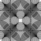 Modello senza cuciture geometrico in bianco e nero con la linea ed il cerchio, Immagine Stock Libera da Diritti