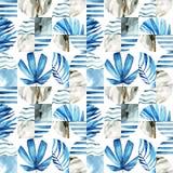 Modello senza cuciture geometrico dell'estratto: foglie tropicali, onde, bande, semicerchi, cerchi, quadrati, lerciume, granuloso royalty illustrazione gratis