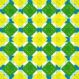 Modello senza cuciture geometrico duro astratto nei colori blu, gialli e verdi Fotografia Stock Libera da Diritti