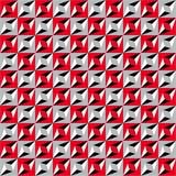 Modello senza cuciture geometrico, illusione ottica, fondo di vettore Ornamento dai quadrati rossi, grigi, bianchi e neri, dai tr Immagini Stock