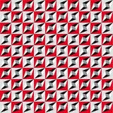 Modello senza cuciture geometrico, illusione ottica, fondo di vettore Ornamento dai quadrati rossi, grigi, bianchi e neri, dai tr Fotografie Stock