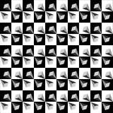 Modello senza cuciture geometrico, illusione ottica, fondo di vettore Ornamento monocromatico dai quadrati neri, bianchi e grigi, Immagine Stock