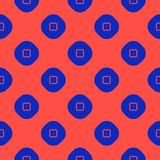 Modello senza cuciture geometrico minimalista di vettore con i cerchi, quadrati Colore rosso ed azzurro royalty illustrazione gratis