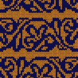 Modello senza cuciture giallo e blu tricottato etnico Immagini Stock