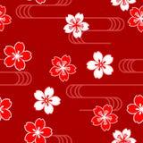 Modello senza cuciture giapponese con il fiore di ciliegia su fondo rosso Immagine Stock